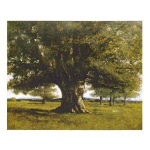 絵画 壁掛け 額縁 アートフレーム付き ギュスターヴ・クールベ 「フラジェの樫の木」 P10号 世界...