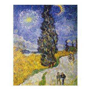 絵画 壁掛け 額縁 アートフレーム付き ヴィンセント・ヴァン・ゴッホ 「糸杉と星の道」 P10号 世界の名画シリーズ プリハード|touo