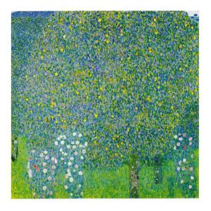 絵画 壁掛け 額縁 アートフレーム付き グスタフ・クリムト 「樹々の下の薔薇」 S8号 世界の名画シリーズ プリハード|touo