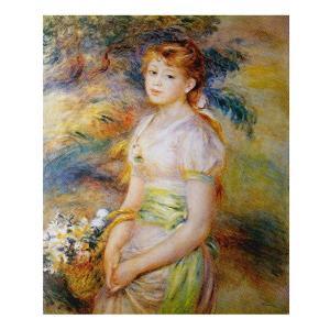絵画 壁掛け 額縁 アートフレーム付き ピエール・オーギュスト・ルノワール 「花籠を持った少女」 F15号 世界の名画シリーズ プリハード|touo