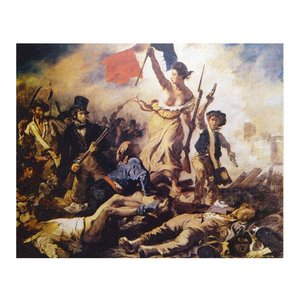 絵画 壁掛け 額縁 アートフレーム付き ウジェーヌ・ドラクロワ 「民衆を率いる自由の女神」 P15号 世界の名画シリーズ プリハード|touo