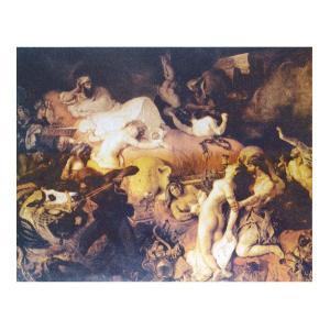 絵画 壁掛け 額縁 アートフレーム付き ウジェーヌ・ドラクロワ 「サルダナパルの死」 P15号 世界の名画シリーズ プリハード|touo
