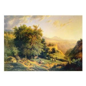 絵画 壁掛け 額縁 アートフレーム付き オーギュスト・ラピト 「山の風景」 M15号 世界の名画シリーズ プリハード|touo