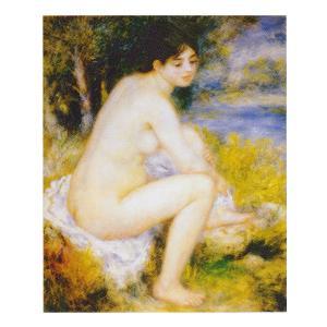 絵画 壁掛け 額縁 アートフレーム付き ピエール・オーギュスト・ルノワール 「足を洗う水浴の女」 F15号 世界の名画シリーズ プリハード|touo
