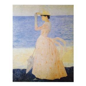 絵画 壁掛け 額縁 アートフレーム付き アリステッド・マイヨール 「パラソルを持つ娘」 P15号 世界の名画シリーズ プリハード|touo