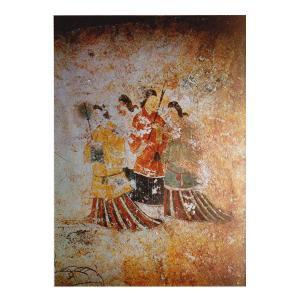 絵画 壁掛け 額縁 アートフレーム付き 奈良県明日香村 「高松塚古墳壁画(西)」 M20A号 世界の名画シリーズ プリハード|touo