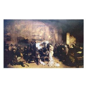 絵画 壁掛け 額縁 アートフレーム付き ギュスターヴ・クールベ 「画室」 M20B号 世界の名画シリ...