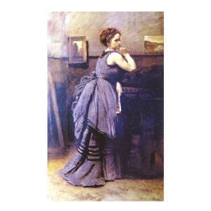絵画 壁掛け 額縁 アートフレーム付き ジャン・バティスト・カミーユ・コロー 「青衣の婦人」 M20A号 世界の名画シリーズ プリハード touo