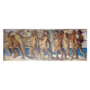 絵画 壁掛け 額縁 アートフレーム付き 青木繁 「海の幸」 特寸 世界の名画シリーズ プリハード|touo