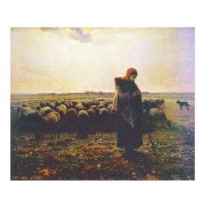 絵画 壁掛け 額縁 アートフレーム付き ジャン・フランソワ・ミレー 「羊飼いの少女」 F40号 世界の名画シリーズ プリハード|touo