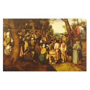 絵画 壁掛け 額縁 アートフレーム付き ピーテル・ブリューゲル 「洗礼者ヨハネの説教」 35号 世界の名画シリーズ プリハード|touo