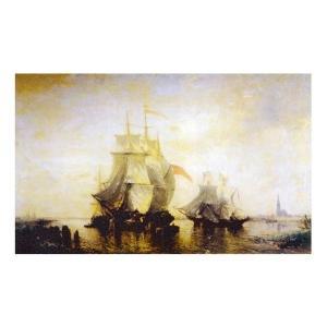 絵画 壁掛け 額縁 アートフレーム付き フェリックス・ジーム 「船出」 M25号 世界の名画シリーズ プリハード|touo