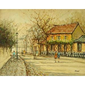 ヨーロッパ絵画 油絵 肉筆絵画 壁掛け (額縁 アートフレーム付きで納品対応可) サイズF6号 ニカル作 「パリの街角」|touo