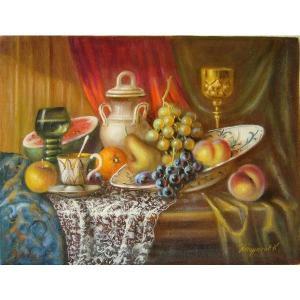 ヨーロッパ絵画 油絵 肉筆絵画 壁掛け (額縁 アートフレーム付きで納品対応可) サイズF6号 レインプレヒト作 「静物」|touo