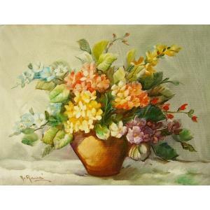 ヨーロッパ絵画 油絵 肉筆絵画 壁掛け (額縁 アートフレーム付きで納品対応可) サイズF6号 A.レネ作 「花瓶の花束」|touo