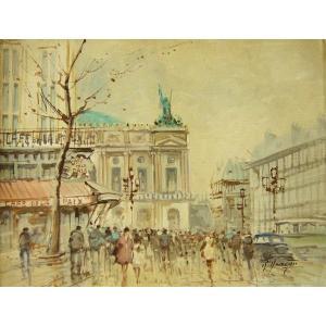 ヨーロッパ絵画 油絵 肉筆絵画 壁掛け (額縁 アートフレーム付きで納品対応可) サイズF6号 ロベルティー作 「パリの街角」|touo