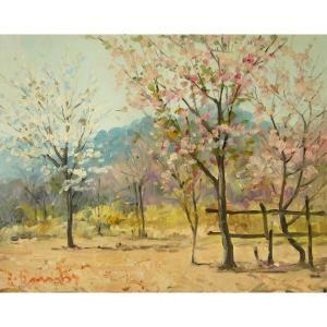 ヨーロッパ絵画 油絵 肉筆絵画 壁掛け (額縁 アートフレーム付きで納品対応可) サイズF6号 ロンビ作 「桜」 touo