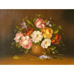 ヨーロッパ絵画 油絵 肉筆絵画 壁掛け (額縁 アートフレーム付きで納品対応可) サイズF6号 ロッシーニ作 「花瓶の花束」|touo