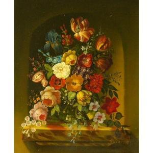 ヨーロッパ絵画 油絵 肉筆絵画 壁掛け (額縁 アートフレーム付きで納品対応可) サイズF6号 ルドルファー作 「花瓶の花束」 touo