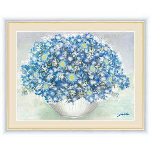 絵画 高精細デジタル版画 インテリア 壁掛け 額縁付き 洋 美作 「やすらぎの青いブーケ」 写真立て仕様|touo