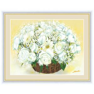 絵画 高精細デジタル版画 インテリア 壁掛け 額縁付き 洋 美作 「清純な白いブーケ」 写真立て仕様|touo