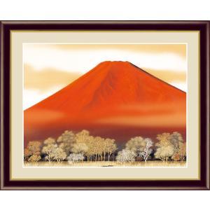 絵画 高精細デジタル版画 インテリア 壁掛け 額縁付き 日本画 伊藤渓山作 「赤富士」 写真立て仕様|touo