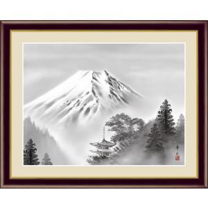 絵画 高精細デジタル版画 インテリア 壁掛け 額縁付き 日本画 鈴村秀山作 「富士塔景」 写真立て仕様|touo
