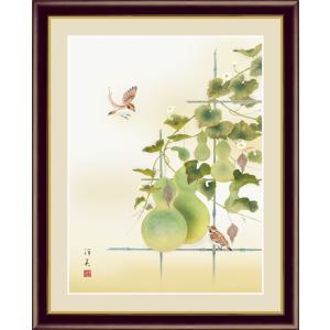 絵画 高精細デジタル版画 インテリア 壁掛け 額縁付き 日本画 上村洋美作 「六瓢」 写真立て仕様|touo