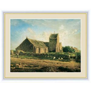 高精細デジタル版画 世界の名画 ジャン・フランソワ・ミレー 「グレヴィルの教会」 写真立て仕様|touo