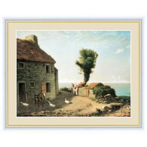 絵画 高精細デジタル版画 インテリア 壁掛け 額縁付き 名画 ジャン・フランソワ・ミレー 「グレヴィルの村はずれ」 写真立て仕様|touo