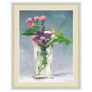 高精細デジタル版画 世界の名画 エドゥアール・マネ 「ガラス花瓶の中のカーネーションとクレマティス」 写真立て仕様|touo