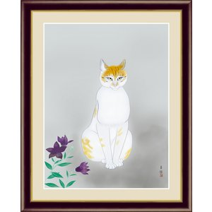 絵画 高精細デジタル版画 インテリア 壁掛け 額縁付き 名画 小林 古径 「猫」 写真立て仕様|touo
