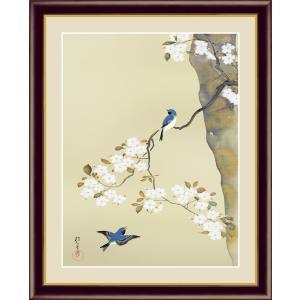 絵画 高精細デジタル版画 インテリア 壁掛け 額縁付き 名画 酒井 抱一 「桜に小禽図」 写真立て仕様|touo