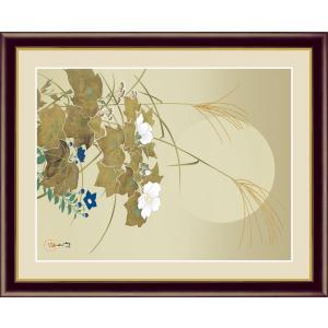 絵画 高精細デジタル版画 インテリア 壁掛け 額縁付き 名画 酒井 抱一 「月秋草に螽斯図」 写真立て仕様|touo