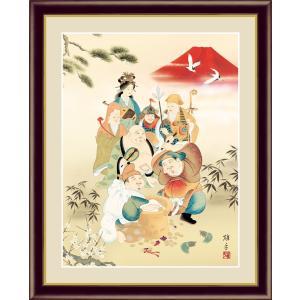 絵画 高精細デジタル版画 インテリア 壁掛け 額縁付き 日本画 鵜飼雄平作 「七福神」 写真立て仕様 touo