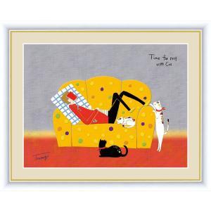 絵画 高精細デジタル版画 インテリア 壁掛け 額縁付き 山田 つむぎ作 「うたた寝」 写真立て仕様|touo