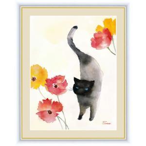 絵画 高精細デジタル版画 インテリア 壁掛け 額縁付き 榎本 早織作 「カーネーションと黒猫」 写真立て仕様|touo