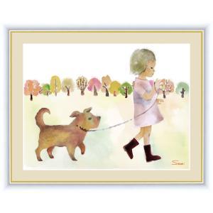 絵画 高精細デジタル版画 インテリア 壁掛け 額縁付き 榎本 早織作 「散歩をする少女」 写真立て仕様|touo