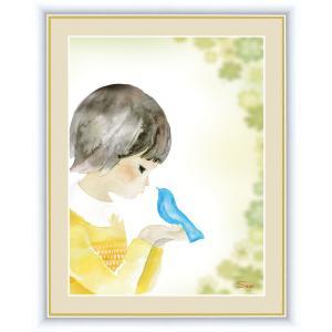 絵画 高精細デジタル版画 インテリア 壁掛け 額縁付き 榎本 早織作 「青い鳥とクローバー」 写真立て仕様|touo