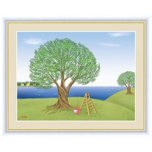 絵画 高精細デジタル版画 インテリア 壁掛け 額縁付き 鈴木 みこと作 「オリーブの木」 写真立て仕様|touo