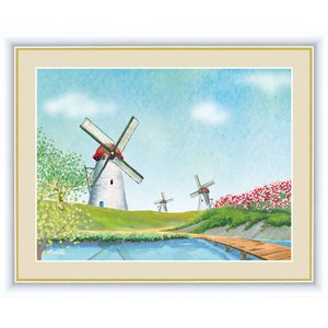 絵画 高精細デジタル版画 インテリア 壁掛け 額縁付き 青木 奏作 「花咲く丘と風車」 写真立て仕様|touo