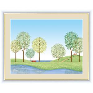 絵画 高精細デジタル版画 インテリア 壁掛け 額縁付き 喜多 一作 「並木道」 F6|touo