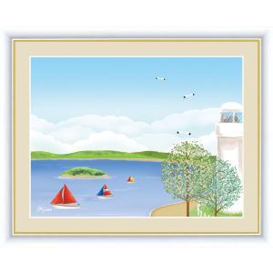 絵画 高精細デジタル版画 インテリア 壁掛け 額縁付き 喜多 一作 「海辺の灯台」 写真立て仕様|touo