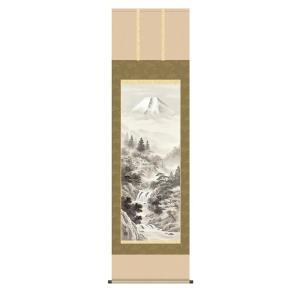 掛け軸 掛軸 純国産掛け軸 床の間 山水風景 「富士閑景」 江本修山 尺五 桐箱付|touo