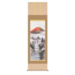 掛け軸 掛軸 純国産掛け軸 床の間 山水風景 「紅峰清風」 伊藤香旬 尺五 桐箱付|touo