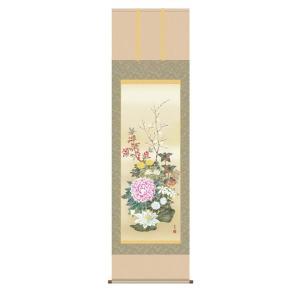 掛け軸 掛軸 純国産掛け軸 床の間 花鳥画 「名花十友」 西尾香悦、尺五、桐箱付|touo
