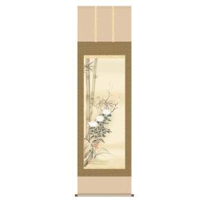 掛け軸 掛軸 純国産掛け軸 床の間 花鳥画 「四君子」 田中広遠、尺五、桐箱付|touo