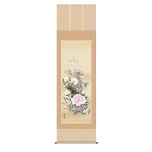 掛け軸 掛軸 純国産掛け軸 床の間 花鳥画 「四季花」 吉井蘭月、尺五、桐箱付|touo