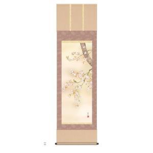 掛け軸 掛軸 純国産掛け軸 床の間 花鳥画 「桜花」 緒方葉水、尺五、桐箱付 touo