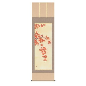 掛け軸 掛軸 純国産掛け軸 床の間 花鳥画 「四季花鳥 紅葉に小鳥」 北山歩生 尺五 桐箱付|touo